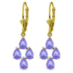 4.5 ctw Tanzanite Earrings Jewelry 14KT Yellow Gold