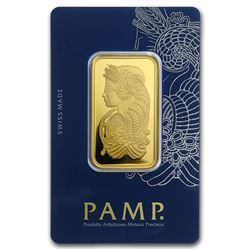 One pc. 1 oz .9999 Fine Gold Bar - PAMP Suisse Lady Fortuna Veriscan In Assay