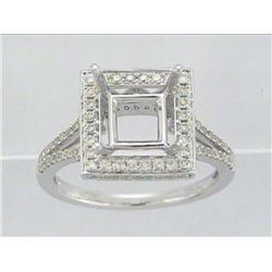 Genuine 14K White Gold 0.6CTW Diamond Semi Mount Ring - REF-64K7R