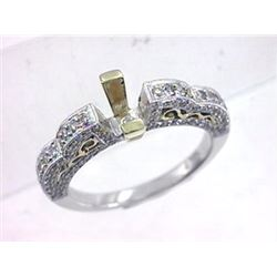 Genuine 14K Two Tone Gold 0.8CTW Diamond Semi Mount Ring - REF-84N8A