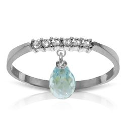 1.45 ctw Blue Topaz & Diamond Ring Jewelry 14KT White Gold