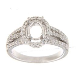 Genuine 14K White Gold 0.51CTW Diamond Semi Mount Ring - REF-86Y8Z