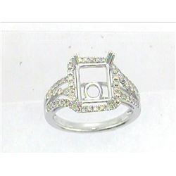 Genuine 14K White Gold 0.56CTW Diamond Semi Mount Ring - REF-68K2R