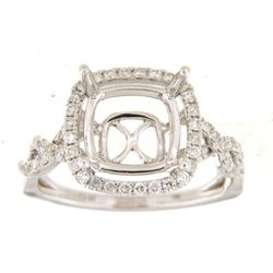 Genuine 14K White Gold 0.52CTW Diamond Semi Mount Ring - REF-76Z6T
