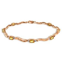 2.01 ctw Citrine & Diamond Bracelet Jewelry 14KT Rose Gold