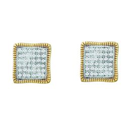 0.25CT Diamond Micro-Pave 10KT Earrings Yellow Gold
