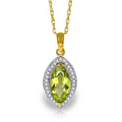 2.15 ctw Peridot & Diamond Necklace Jewelry 14KT Yellow Gold