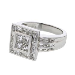 Genuine 18K WhiteGold 1.78CTW Baguette Fashion Ring - REF-287H9W