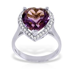 3.24 ctw Amethyst & Diamond Ring Jewelry 14KT White Gold