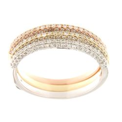 Genuine 14K Tri Color Gold 0.9CTW Diamond Band Ring - REF-103A2X