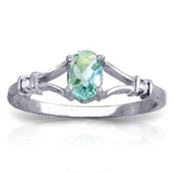 0.46 ctw Blue Topaz & Diamond Ring Jewelry 14KT White Gold