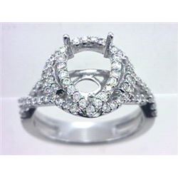 Genuine 14K White Gold 0.8CTW Diamond Semi Mount Ring - REF-88K7R