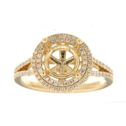 Genuine 14K Yellow Gold 0.59CTW Diamond Semi Mount Ring - REF-88F3N