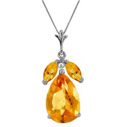 6.5 ctw Citrine Necklace Jewelry 14KT White Gold