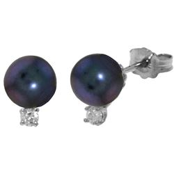 4.1 ctw Black Pearl & Diamond Earrings Jewelry 14KT White Gold