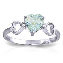 0.96 ctw Aquamarine & Diamond Ring Jewelry 14KT White Gold