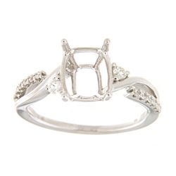 Genuine 14K White Gold 0.21CTW Diamond Semi Mount Ring - REF-41Z2T