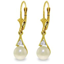 4.06 ctw Pearl & Diamond Earrings Jewelry 14KT Yellow Gold