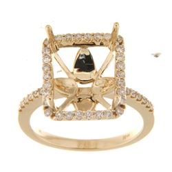 Genuine 14K Yellow Gold 0.42CTW Diamond Semi Mount Ring - REF-67F8N