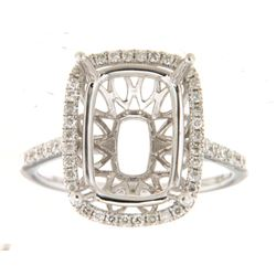 Genuine 14K White Gold 0.4CTW Diamond Semi Mount Ring - REF-66K4R