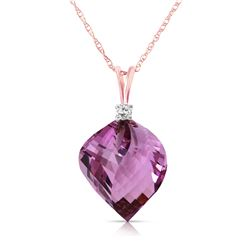 10.80 ctw Amethyst & Diamond Necklace Jewelry 14KT Rose Gold