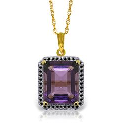 5.8 ctw Amethyst & Black Diamond Necklace Jewelry 14KT Yellow Gold