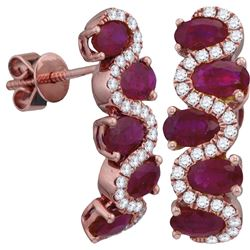 0.30CT Diamond and 2.60CT Ruby Anniversary 18KT Earrings Rose Gold
