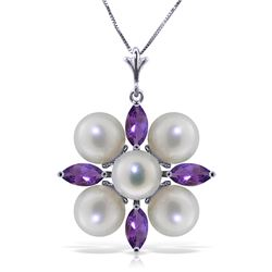 6.3 ctw Amethyst & Pearl Necklace Jewelry 14KT White Gold