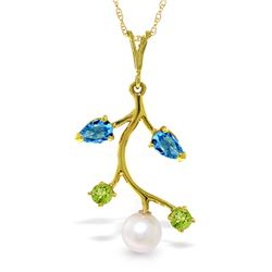 2.7 ctw Blue Topaz, Peridot & Pearl Necklace Jewelry 14KT Yellow Gold