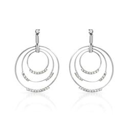 Genuine 0.77 TCW 14K White Gold Ladies Earring - REF-116Z2T