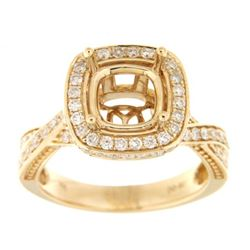 Genuine 14K Yellow Gold 0.9CTW Diamond Semi Mount Ring - REF-121R6H
