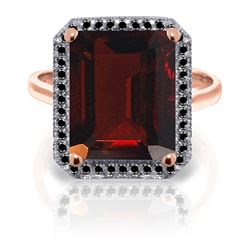 7.7 ctw Garnet & Black Diamond Ring Jewelry 14KT Rose Gold