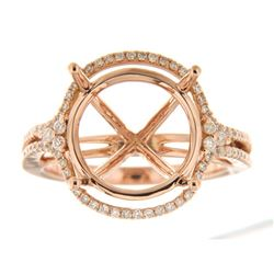 Genuine 14K Rose Gold 0.48CTW Diamond Semi Mount Ring - REF-82T2K