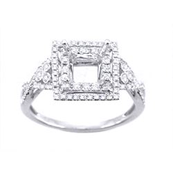 Genuine 14K White Gold 0.41CTW Diamond Semi Mount Ring - REF-49H4W