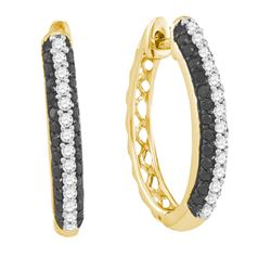 0.75CT Diamond Hoops 10KT Earrings Yellow Gold