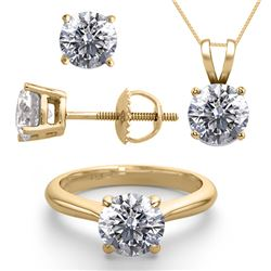 14K Yellow Gold Jewelry SET 4.0CTW Natural Diamond Ring, Earrings, Necklace