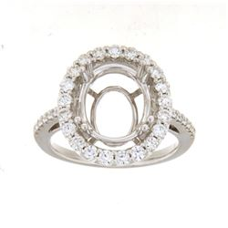 Genuine 14K White Gold 0.79CTW Diamond Semi Mount Ring - REF-102R5H