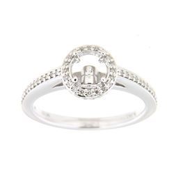 Genuine 14K White Gold 0.32CTW Diamond Semi Mount Ring - REF-58Z3T
