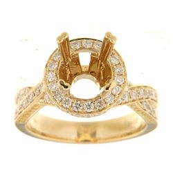 Genuine 14K Yellow Gold 1CTW Diamond Semi Mount Ring - REF-143F9N