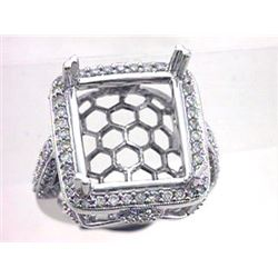 Genuine 14K White Gold 1.2CTW Diamond Semi Mount Ring - REF-116A6X