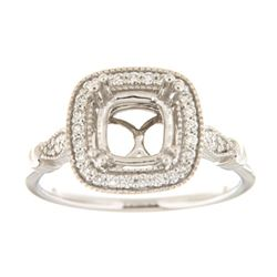 Genuine 14K White Gold 0.23CTW Diamond Semi Mount Ring - REF-59K4R