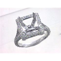 Genuine 14K White Gold 1.31CTW Diamond Semi Mount Ring - REF-97M3F