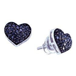 0.35CTW White and Black Diamond Heart 14KT Earrings White Gold