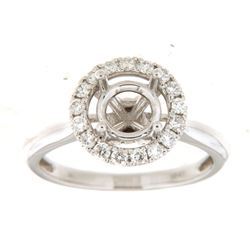 Genuine 14K White Gold 0.43CTW Diamond Semi Mount Ring - REF-63N3A