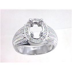 Genuine 14K White Gold 0.22CTW Diamond Semi Mount Ring - REF-71X2Y