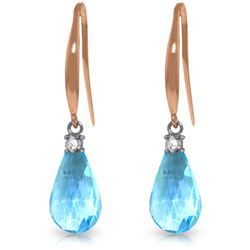 4.6 ctw Blue Topaz & Diamond Earrings Jewelry 14KT Rose Gold