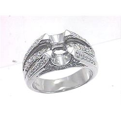 Genuine 18K White Gold 0.51CTW Diamond Semi Mount Ring - REF-159Y3Z