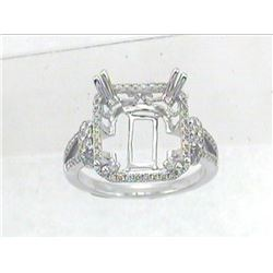 Genuine 14K White Gold 0.43CTW Diamond Semi Mount Ring - REF-59Y6Z
