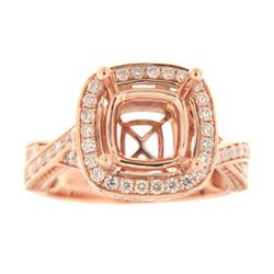 Genuine 14K Rose Gold 0.95CTW Diamond Semi Mount Ring - REF-129X3Y