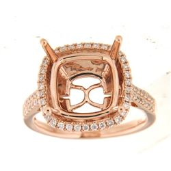 Genuine 14K Rose Gold 0.42CTW Diamond Semi Mount Ring - REF-80F8N